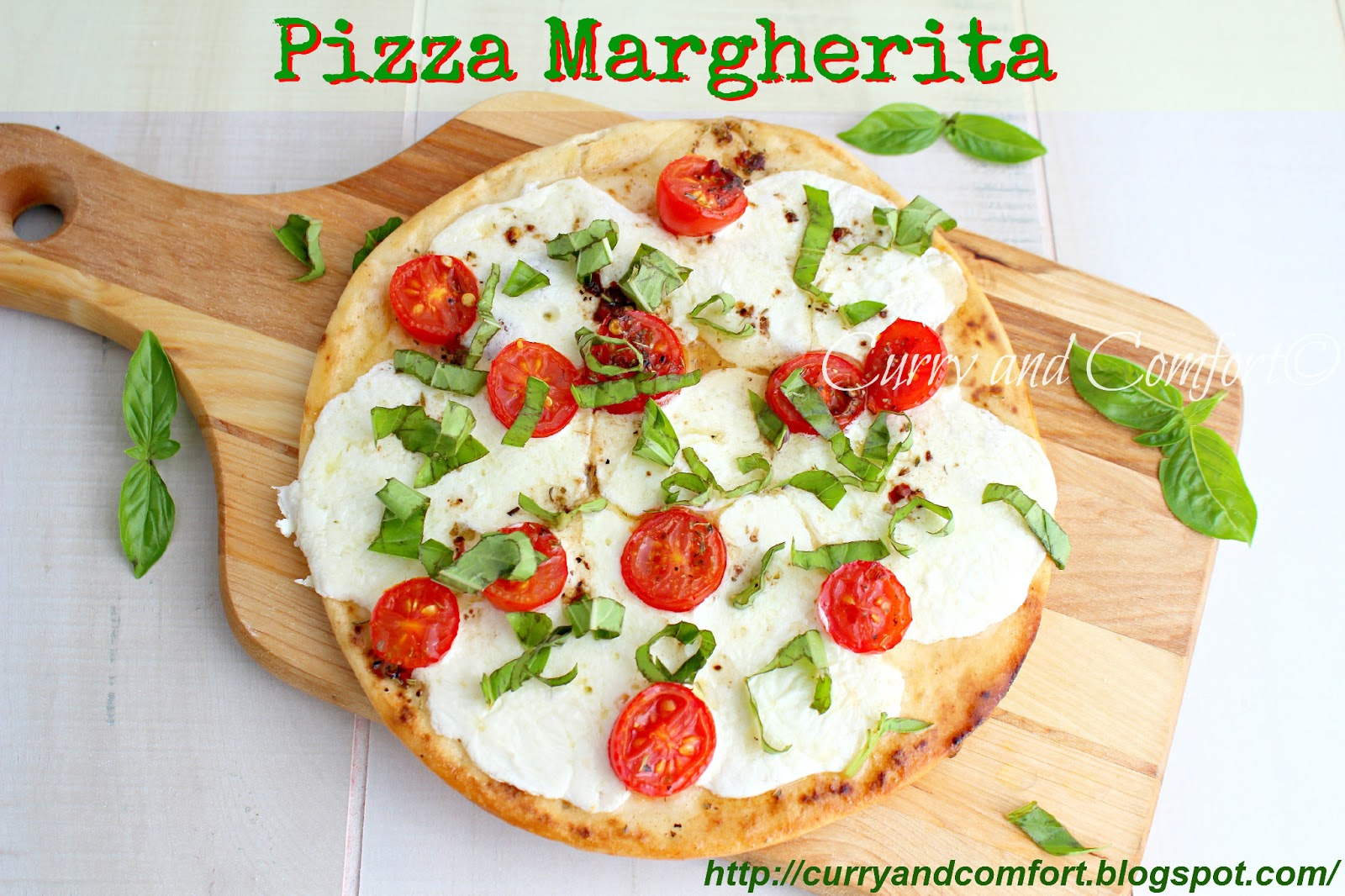 Italian Margherita Pizza Pizza margherita on a garlicky
