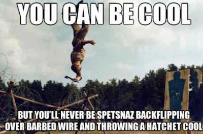 Spetsnaz backflipping over barbed wire and throwing a hatchet