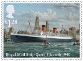 Stamp showing Royal Mail Ship Queen Elizabeth 1940.