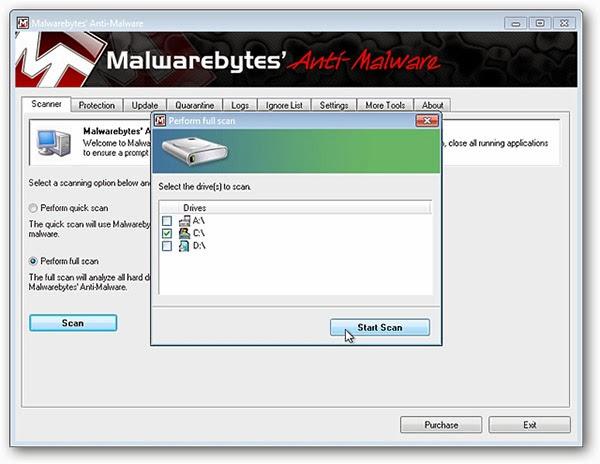حذف البرمجيات الخبيثة باستخدام برنامج Malwarebytes