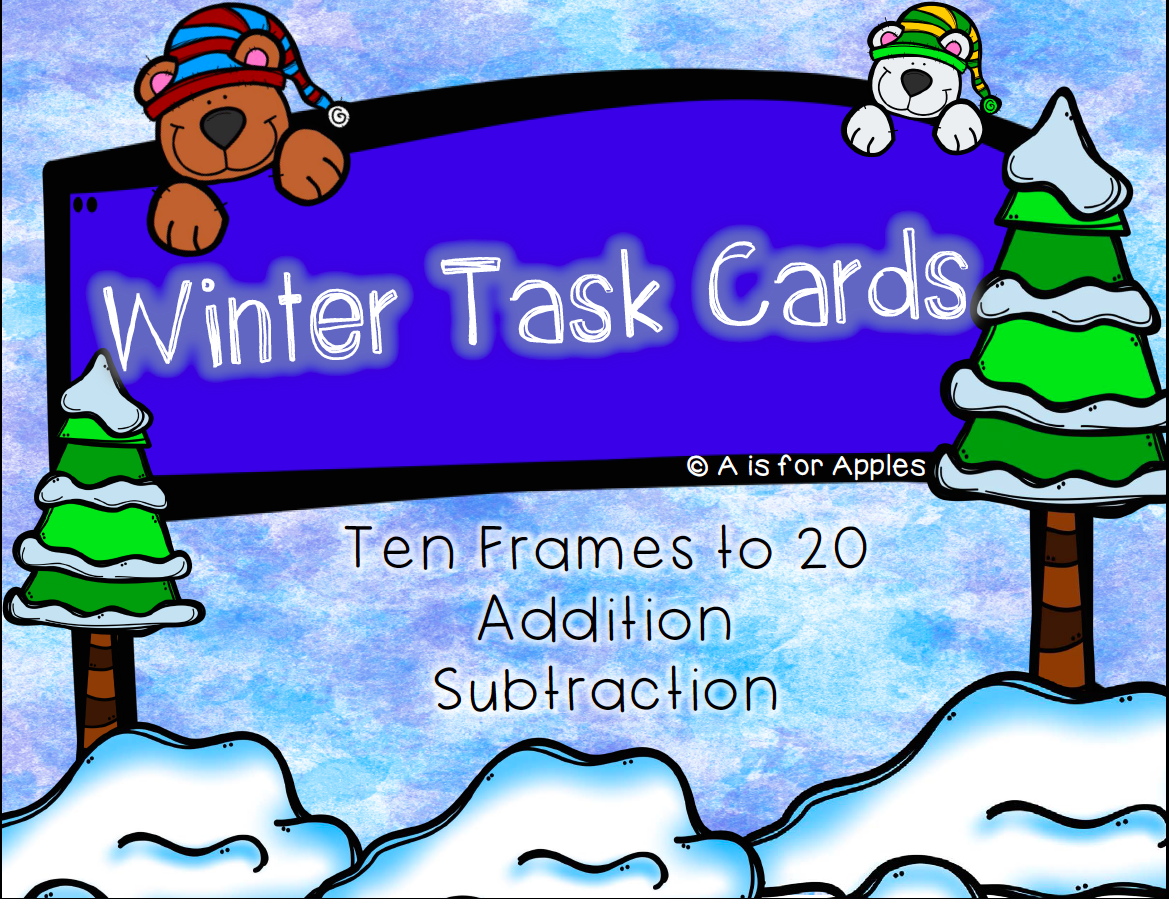 This is a graphic for Winter Task Cards for Ten Frames to 20 Addition and Subtraction.