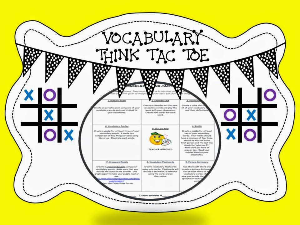 http://www.teacherspayteachers.com/Product/Vocabulary-Think-Tac-Toe-Activity-801528