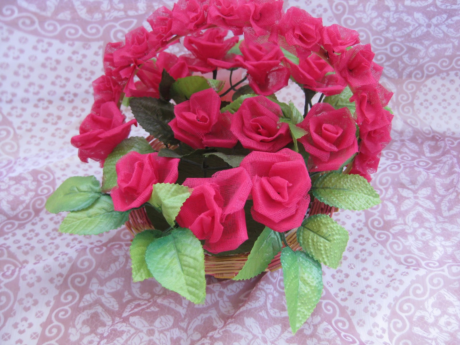 Himajas Crafts Organdy Cloth Rose Flower Basket