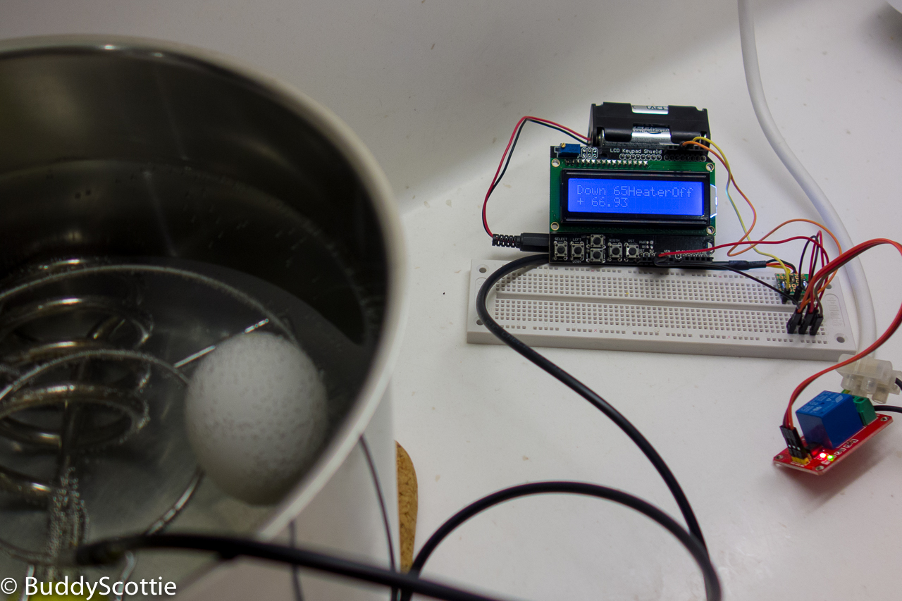A Little Different Perspective Slow Cook On The Cheap Using Arduino Relay Wiring With Lcd Shield 2 Pins Connected Controlling Off Of Heating Element And Water Proof Temperature Sensor Based Ds18b20
