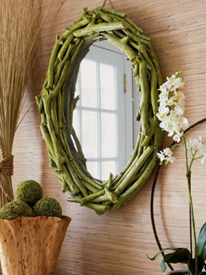 This stunning driftwood mirror is a collection of twigs
