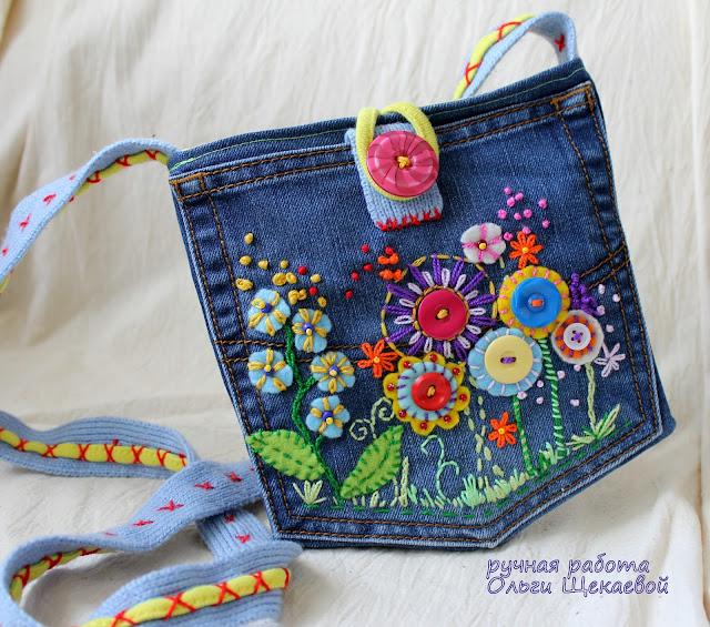 сумочка из джинсов, карман