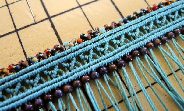 Micro macrame knotting with beaded border and accents.