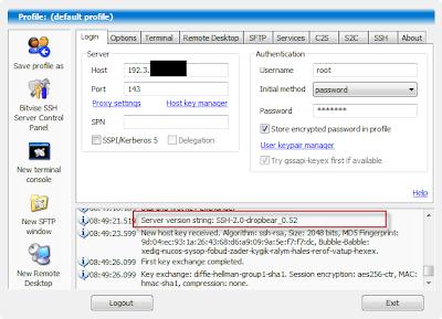 Penampakan dropbear pada bitvise conection status