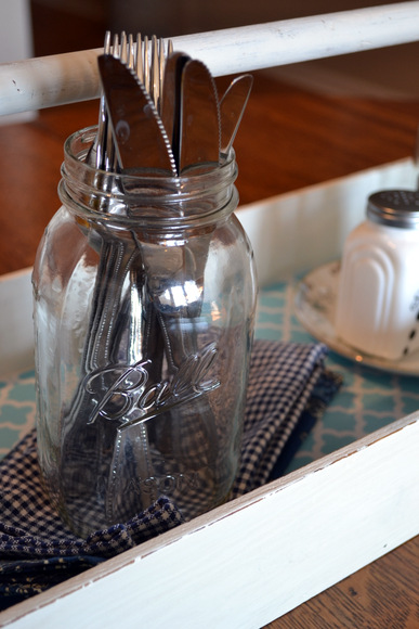 Silverware in mason jar: Antique Toolbox Makeover | DIY Playbook