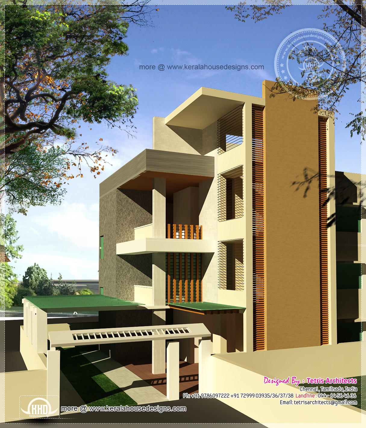 Luxury 3 floor house elevation with floor plan home for 3 floor house design