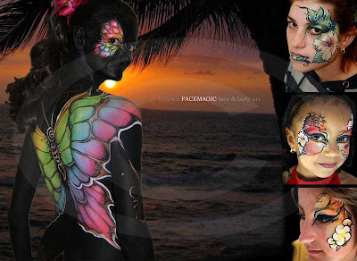 Butterfly body painting picture with tropical wings painted on black painted body. Hibiscus and palm trees. beach scene