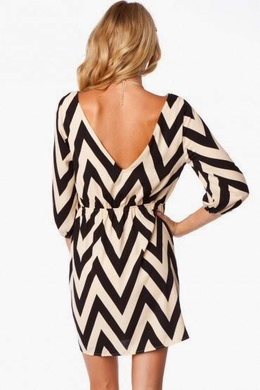 Black And White Mini V Shape Dress