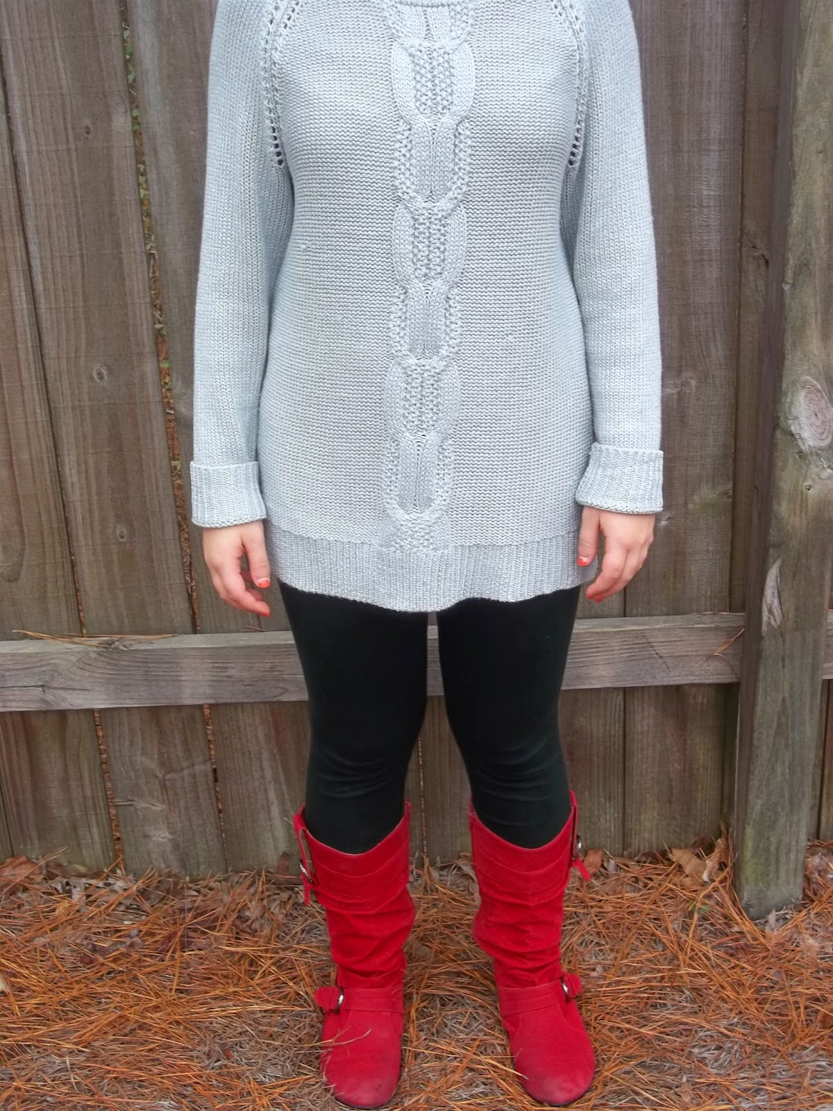 Casual Holiday Outfit. Grey tunic sweater, black leggings, red boots.