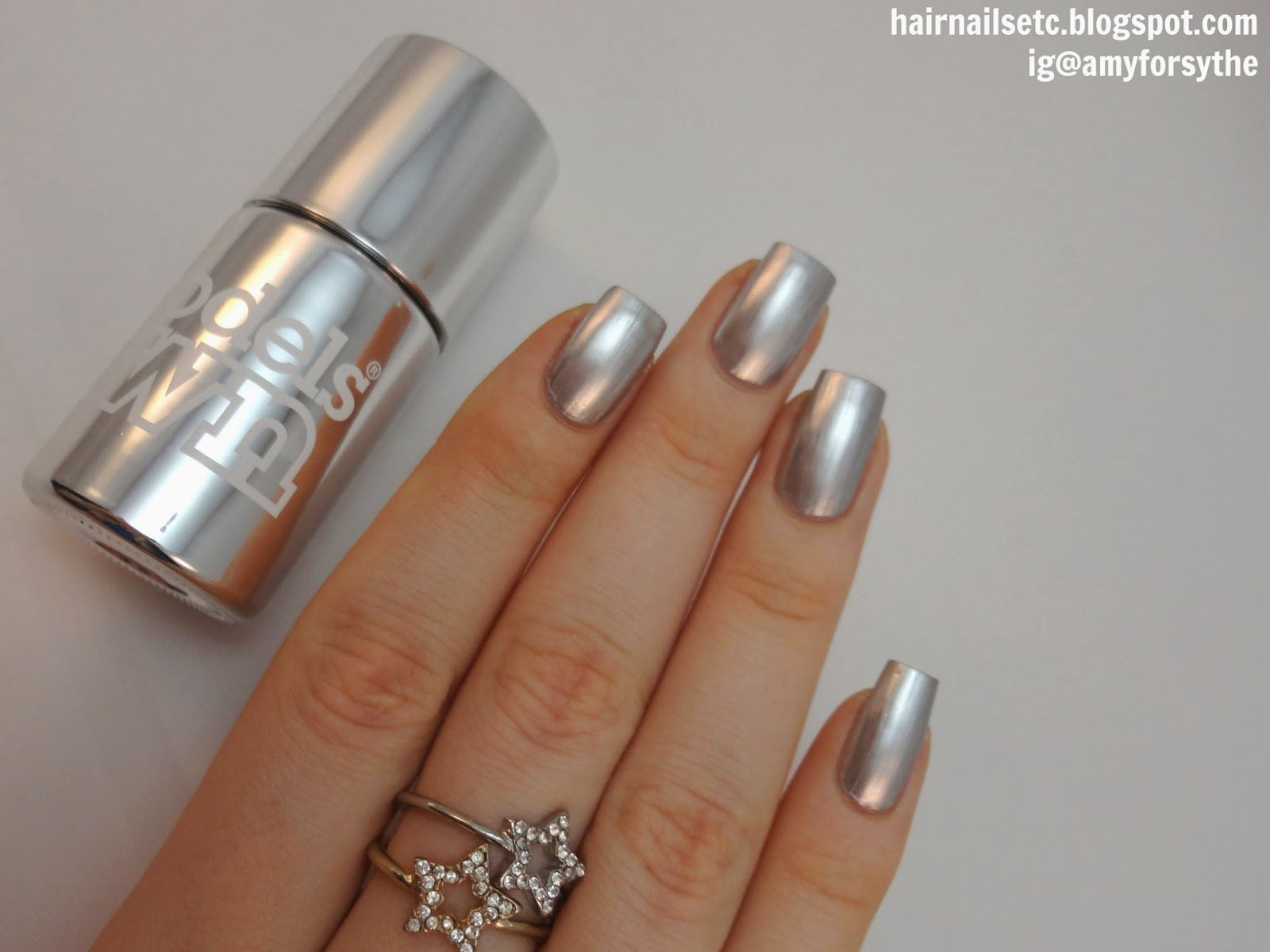 Models Own Colour Chrome Silver Nail Polish swatch and review
