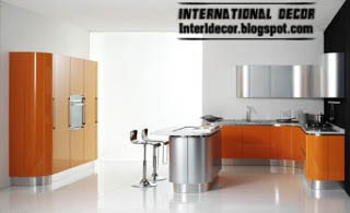 Contemporary orange kitchen cabinets designs 2015, orange and silver kitchen
