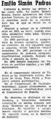 Recorte de El Mundo Deportivo en 1963