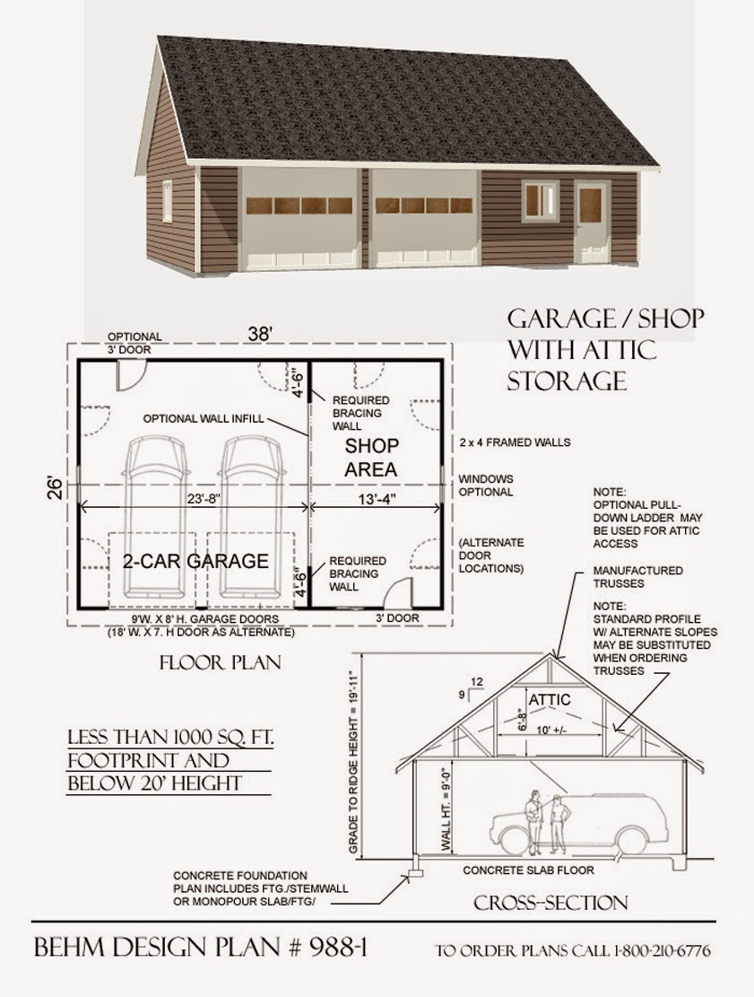 Loft garage plans by behm design garage plans with html for Large garage plans
