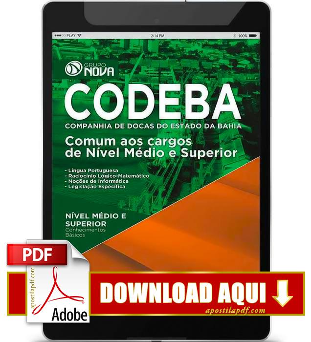 Apostila CODEBA 2015 PDF Download Nível Médio e Superior