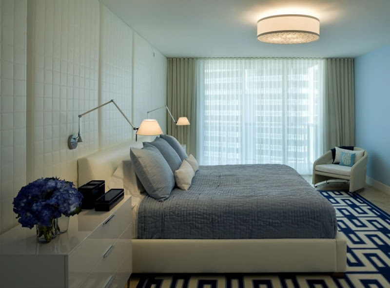 Very Simply Decorated Bedroom with soft Shade of Blue title=