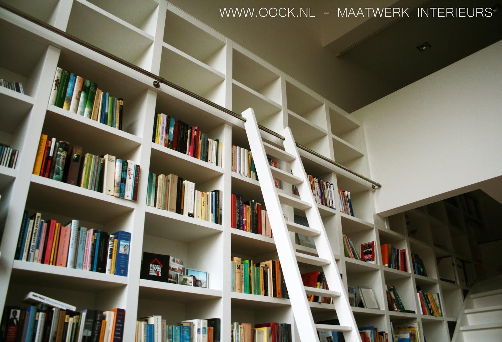 Interieurbouw moderne houten boekenkasten - Eigentijdse boekenkast ...