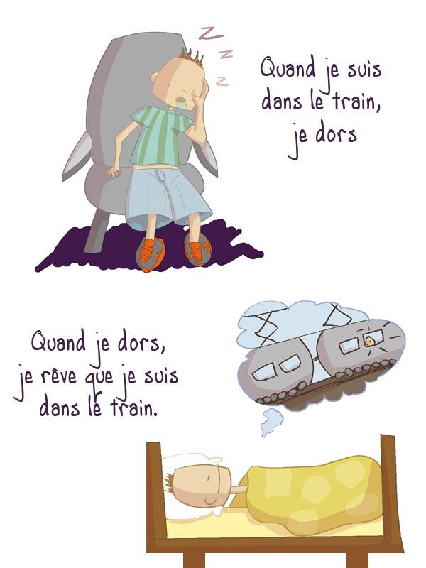 quand je suis dans le train, je dors et quand je dors je rêve que je suis dans le train
