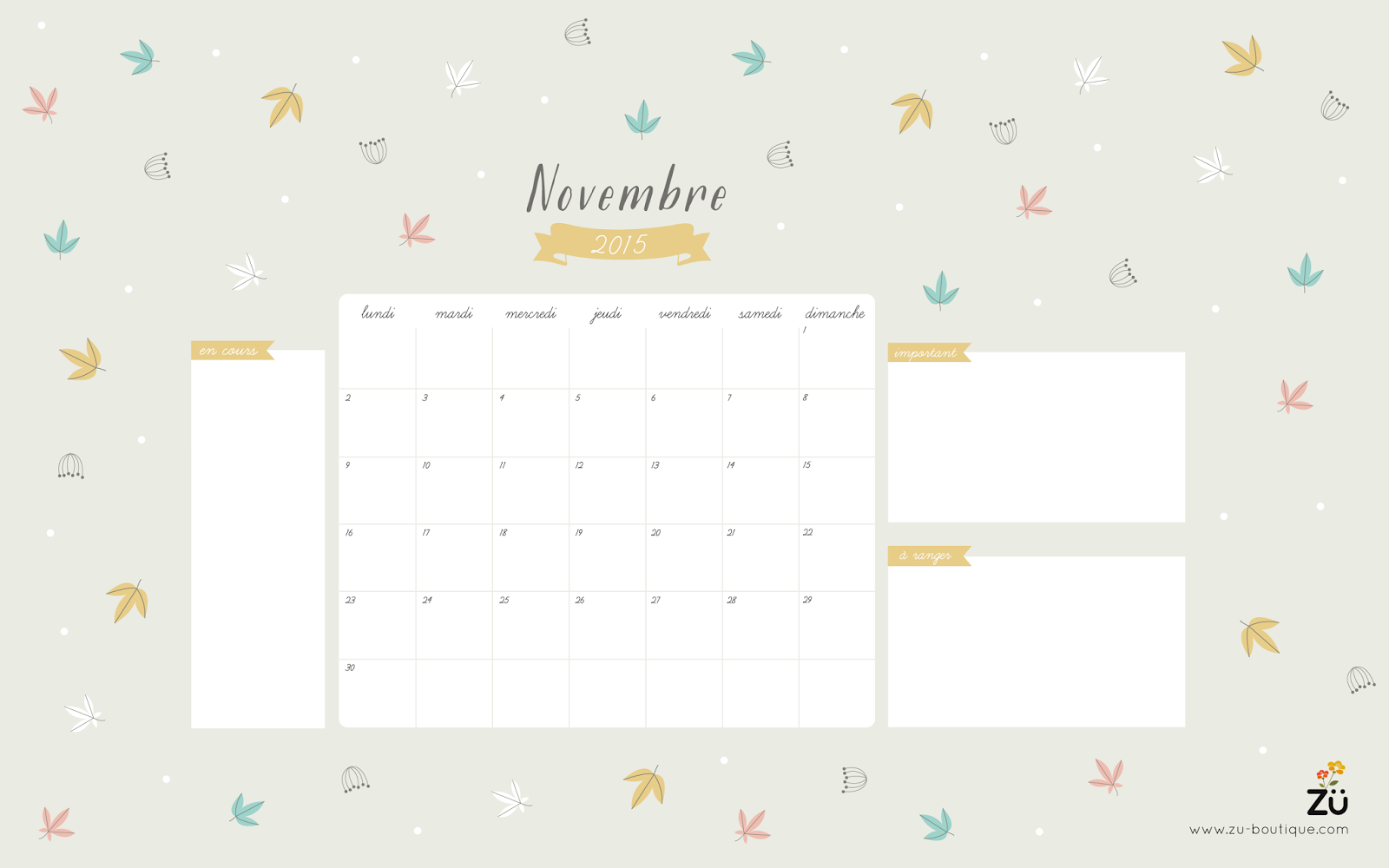Calendrier diy novembre 2015 z le blog for Fond ecran novembre