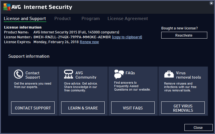 AVG 2015 registered key