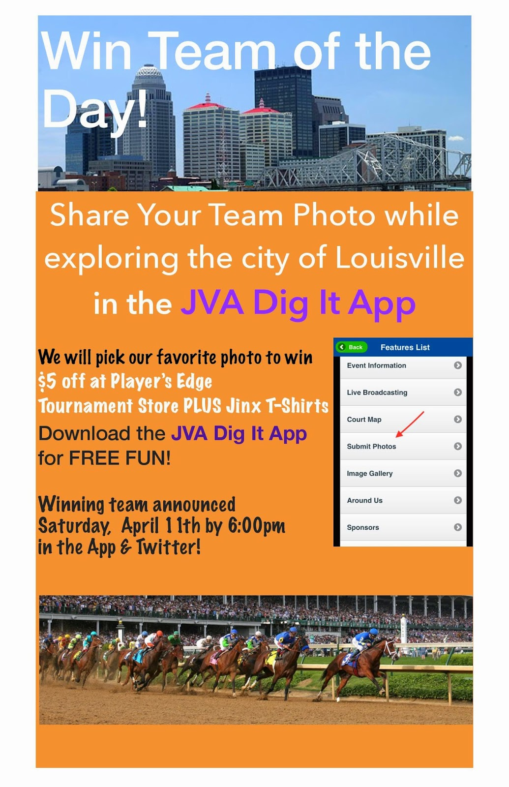 Making a volleyball tournament an event for the entire family jva another team of the day contest is held on saturday and winners receive 5 off at players edge tournament store plus jinx t shirts fandeluxe Choice Image