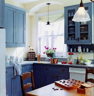 blue kitchen cabinets picture
