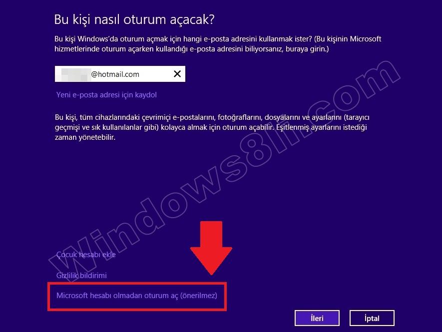 windows 8 kullanıcı hesabı oluşturma