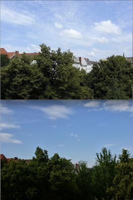 Zwei Blicke vom Balkon, jeweils der gleiche Ausschnitt: Die Bäume sind so gewachsen, dass von den Nachbarhäusern fast nichts mehr zu sehen ist
