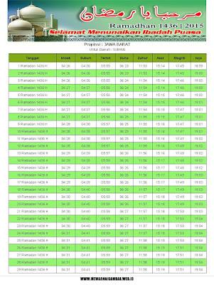 Jadwal Imsakiyah Subang Tahun 2015 (1436 H)