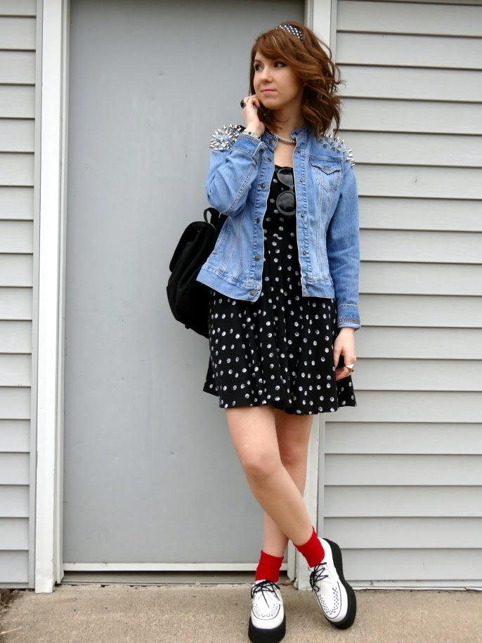 jean jacket spiked shoulders polka dots white creepers edgy outfit style