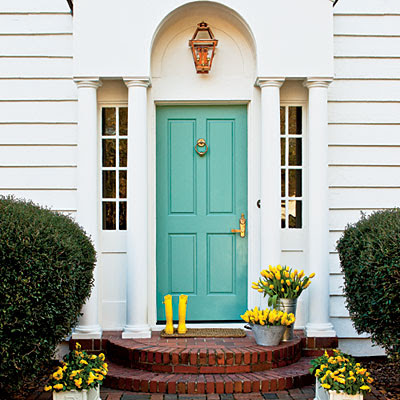 Best Color To Paint Front Door Custom Of Blue Front Door Photo