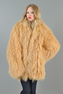 Vintage 1980's huge fluffy honey colored shaggy Mongolian lamb fur coat.
