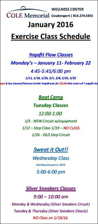 Thru 2-22 Exercise Class At Cole
