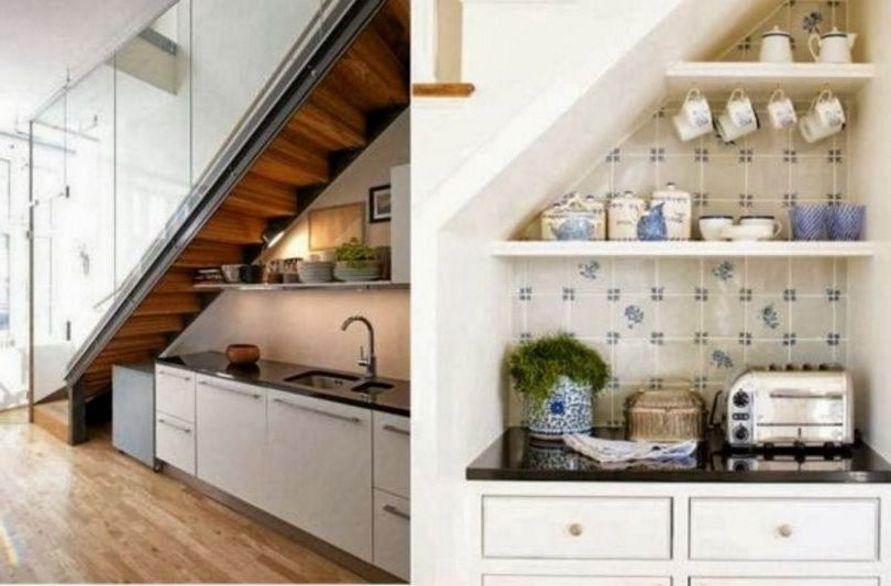 kreativitas interior untuk dapur di bawah tangga menarik