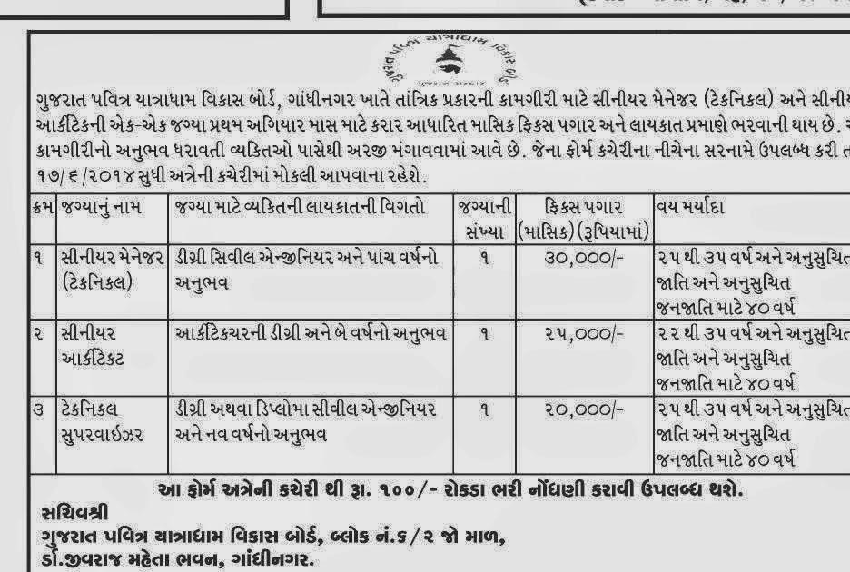 Gujarat Pavitra Yatradham Vikas Board Recruitment 2014