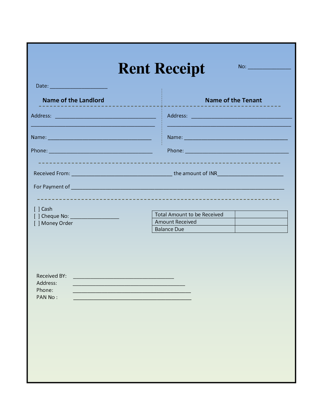 Rent Invoice Form – Free Rent Receipt Template