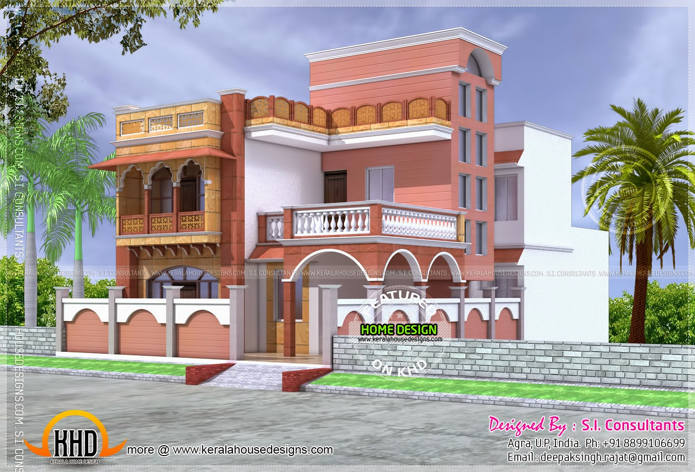 Mughal style house architecture home kerala plans for Indian house design architect