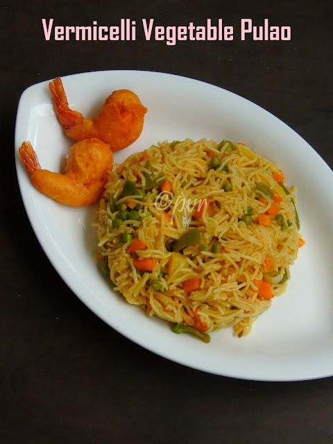 Semiya pulao, vermicelli vegetable pulao