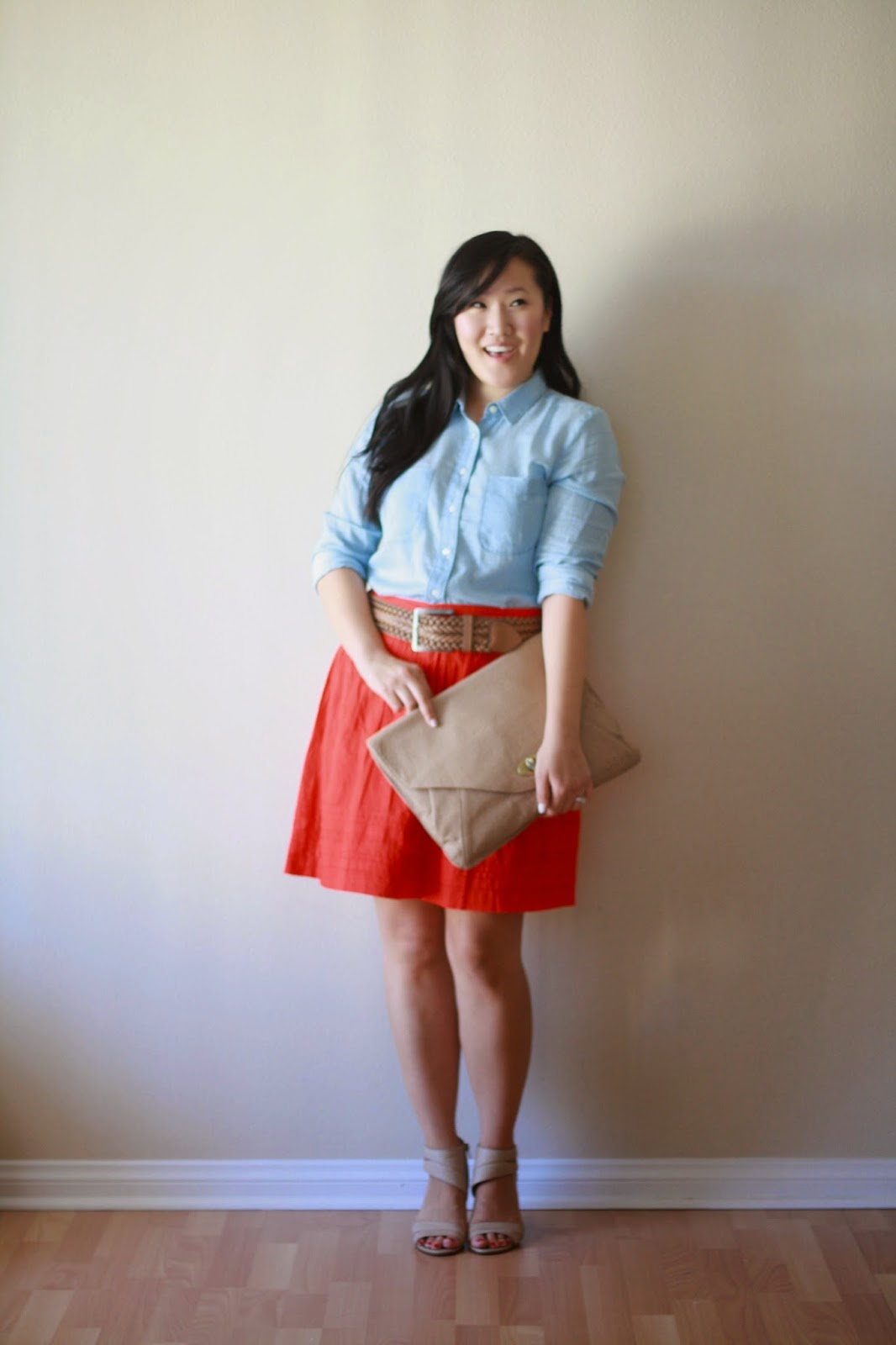 fashion blogger, style blogger, ootd, loft, nine west, urban outfitters, forever 21, red skirt, nude pumps, nude heels