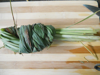 a knot of fresh lemongrass for Filipino fish stew