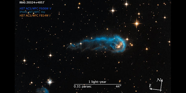 Compass and Scale Image for Protostar IRAS 20324+4057. Credit: Credit: NASA, ESA, and Z. Levay (STScI/AURA)