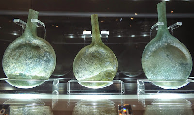 Ancient glass containers for olive oil