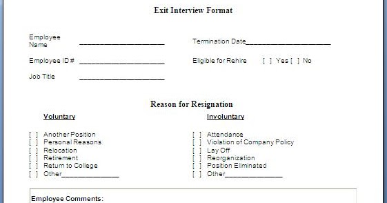 Every Bit of Life: Job Exit Interview Form