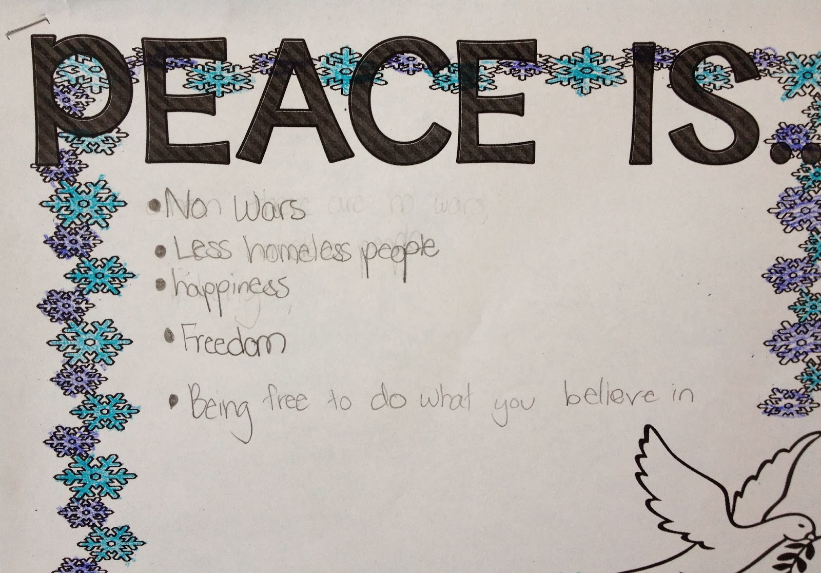what peace means to me Define peace peace synonyms, peace pronunciation, peace translation, english dictionary definition of peace n 1 the absence of war or other hostilities 2 an agreement or a treaty to end hostilities: negotiated the peace 3 freedom from quarrels and.