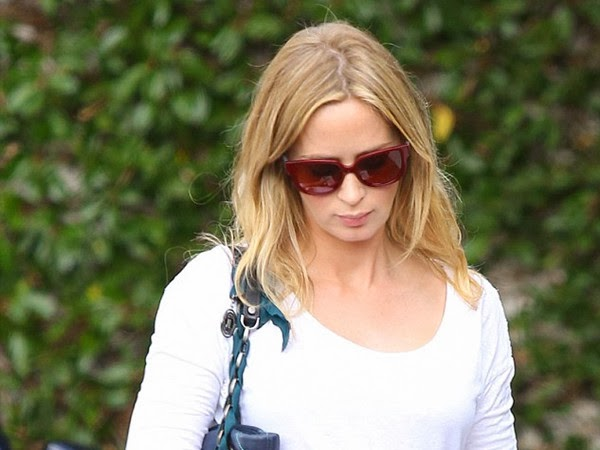 Pregnant Emily Blunt Puts On Bright Red Glasses to Show the Delight