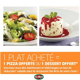 Del Arte: 1 plat acheté = 1 pizza offerte ou 1 dessert offert