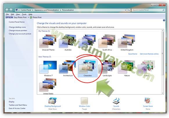 Gambar: Memilih Characters theme sebagai Tema Windows yang baru